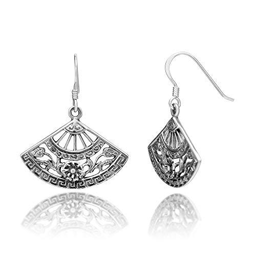 925 Sterling Silver Asian Insipred Filigree Folding Hand Fan Flora Dangle Hook Earrings