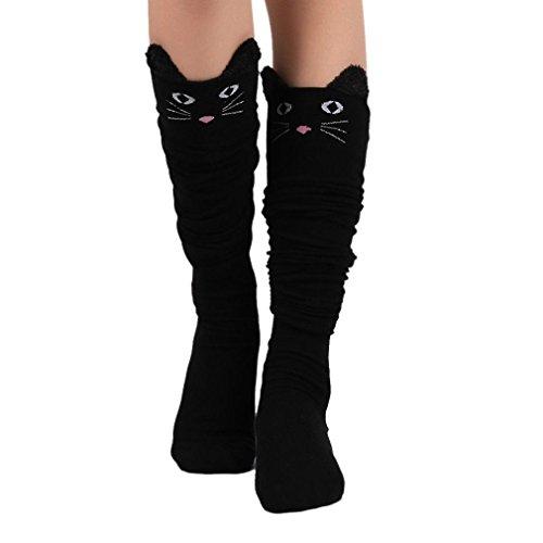 HARRYSTORE Mujer lindo gato calcetines largos sobre la rodilla Mujer calcetines calientes del invierno sobre la rodilla Calcetines de dibujos animados mujeres Negro
