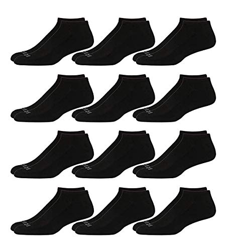 'AND1 Men\'s 12 Pack Athletic Low Cut Socks (Black, Shoe Size: 6-12.5)'