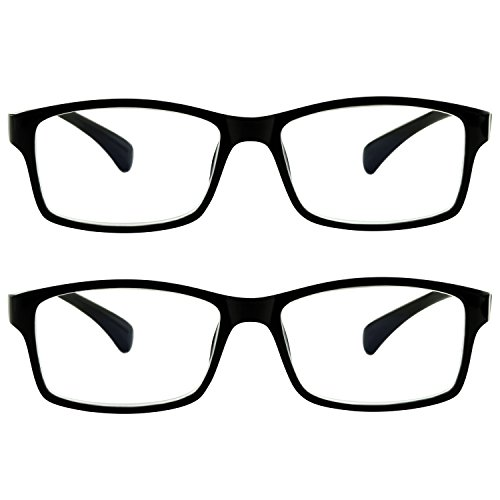 Computer Reading Glasses 0.00 Black 2 Pack Protect Your Eyes Against Eye Strain, Fatigue and Dry Eyes from Digital Gear with Anti Blue Light, Anti UV, Anti Glare, and are Anti Reflective by TruVision Readers (Image #8)