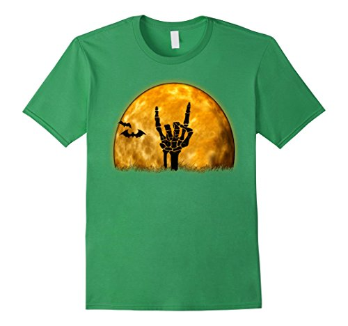 Rock N Roll Zombie Costume (Mens Funny Rock n Roll Halloween Skeleton Grave Hand and Moon Tee Small Grass)