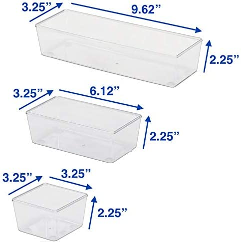 6 Pack – Simple Houseware Clear Plastic Desk Drawer Organizers 41HjFw46dcL