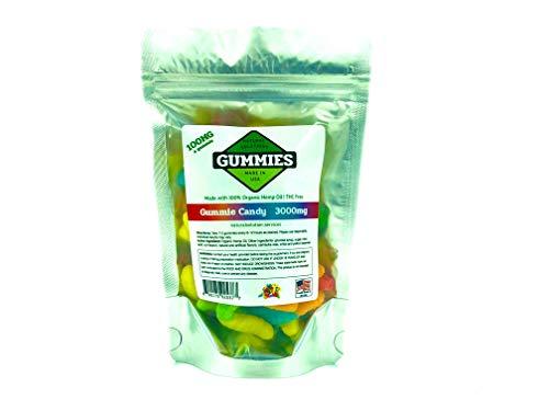 30ct Premium Hemp Gummies Sour Gummy Worms Flavor- 100mg per Gummy Worm (3000 mg per Bag) – Organic Hemp – 0% THC…