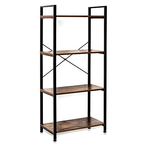 IRONCK Bookshelf, 4-Tier Ladder Shelf, Storage Rack Shelf Unit for Bathroom, Living Room, Vintage Industrial Style Bookcase for Home Decor, Wood Look Accent Furniture Metal Frame