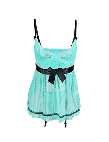 ohyeah Womens Sheer Lace Babydoll Sexy Backless Lingerie Set with Garter -