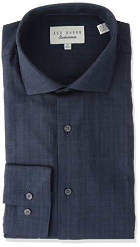 Ted Baker Men's Cholet Slim Fit Dress Shirt, Navy, 15.5'' Neck 32-33'' Sleeve by Ted Baker