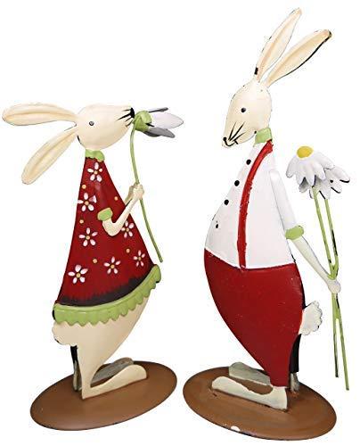 khevga Easter Decoration Indoor - Decorative Metal Bunny, Set of 2