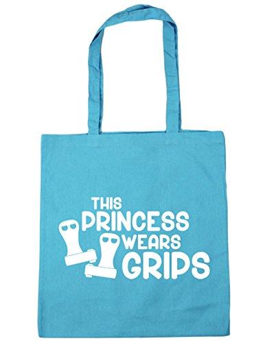 HippoWarehouse esta princesa lleva Grips gimnasia gimnasio playa bolsa de la compra bolsa 42cm x38cm, 10litros, gris grafito (gris) - 21428-TOTE-Graphite grey Surf Blue
