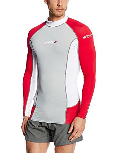 Mares Herren Tauch-shirt Langarm Rash Guard Trilastic L-Sleeve DC, Grey/White/Red, L, 412979