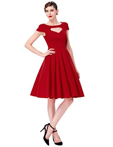 para Manga Rojo Vestido Vintage Dress corta mujer GK Noche UqYwSa