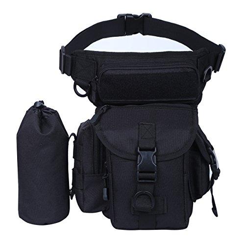 Eshow Men's Retro Canvas Waist Belt Outdoor Military Motorcycle Sports Racing Drop Tactical Leg Bag Fanny Pack Bike Cycling Hicking Hip Bag (Black - Hip Retro