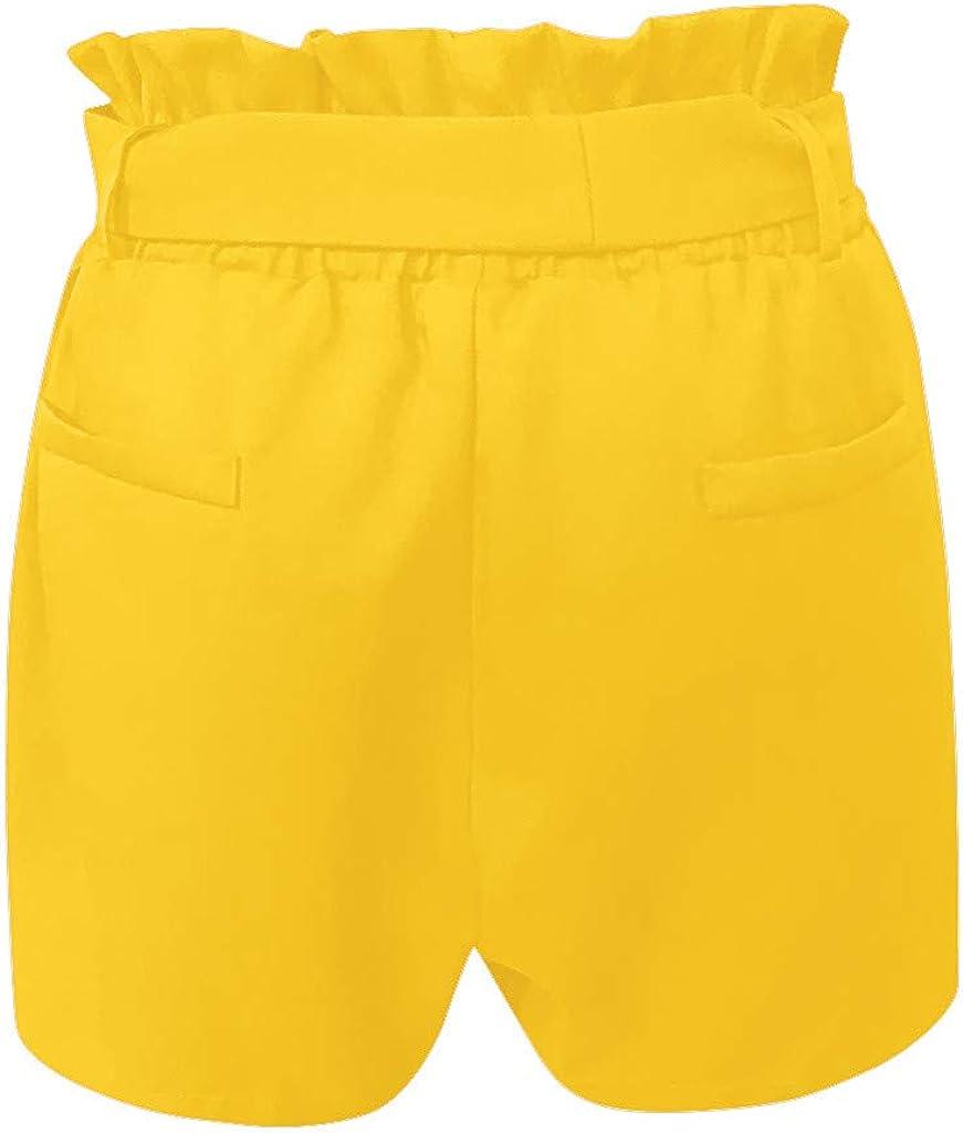 Fanteecy Womens Casual Elastic Waist Bowknot Summer Shorts with Pockets,Casual Shorts High Waist Ruffle Bow Tie Shorts
