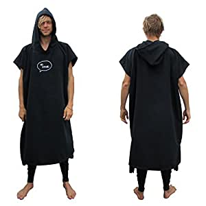 Thick Microfiber Surf Poncho (Wetsuit Changing Robe/Towel) [CHOOSE COLOR] (Black)
