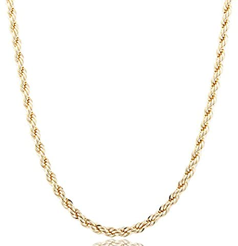 Goldtone 6mm Brass Rope Chain (24 inches) (P-273) (Chain Necklace Brass)