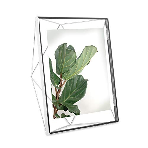 Umbra Prisma Picture Frame, 8x10 Photo Display for Desk or Wall, Chrome (Cool Glass Frames)