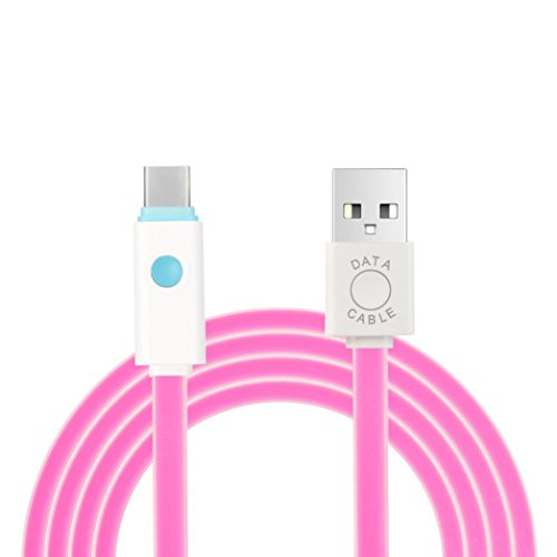 Odeer LED Type-C Cable 3.3Feet USB 2.0 Data Faster Charger Cable For Android Phone (Hot Pink) (Charger Wind Phone)