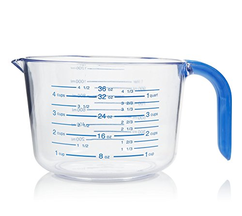 Arrow Home Products 03212 4-1/2 Cup Cool Grip Measure Cup, 36-Ounce Capacity, Crystal with Blue Handle and Graduates ()