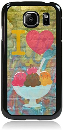 I Love Ice Cream--Pastel Ice-Cream Background-Wall-Art-Street-Art- Case for the Samsung® Galaxy s6 Only (Not the s6 EDGE)- Hard Black Plastic Snap On Case