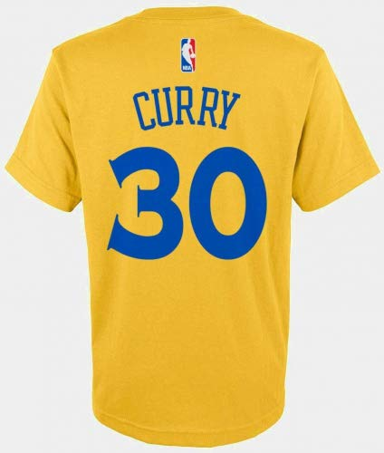 Outerstuff Stephen Curry Golden State Warriors NBA Boys Youth 8-20 Yellow Gold Official Player Name & Number T-Shirt (Youth Large 14-16) ()