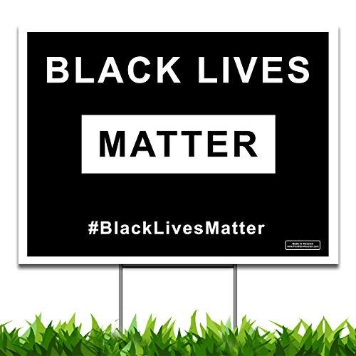 Large 24x18 - Black Lives Matter Yard Sign - Printed Front & Back + 24 Metal Stake