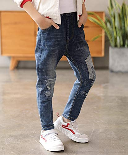 ズボン 子供 男の子 デニム ボトムス ジーンズ キッズ ボーイズ ダメージ かっこいい ロングパンツ スキニー デニムパンツ カジュアル ウェストゴム 長パンツ 通園 通学 110-160