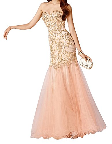 Charm Bridal elegant sequins summer dress Prom dresses Party dresses mermaid new -14-Champagne by Charm Bridal