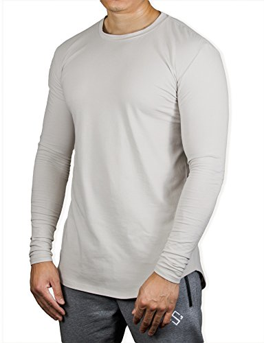 Hem Long Sleeve Cotton - Saahus Men's Long Sleeve Athletic Performance Crewneck Muscle T-Shirt by (Medium)