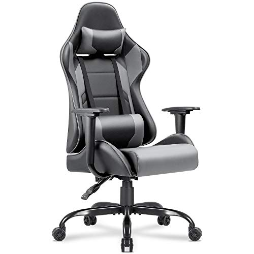 Homall Gaming Chair Racing Office Chair Computer Desk Game Chair, PU Leather Adjustable Swivel Chair Managerial Executive Chair with Headrest and Lumbar Support (Grey)