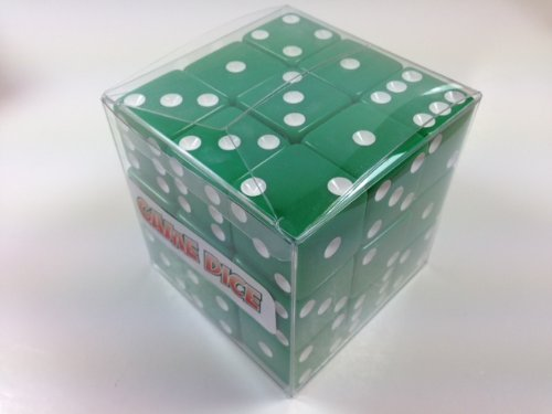 Cube of 27 Large Green Dice - 25mm (1 inch diameter!) by OneSockMacy