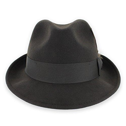 Belfry Trilby Men/Women Snap Brim Vintage Style Dress Fedora Hat 100% Pure Wool Felt Available in Black, Grey, Pecan (Brown XL)