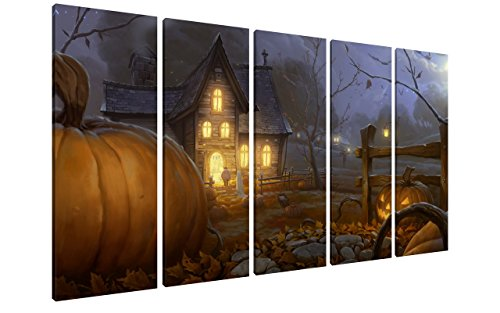 NAN Wind 5Pcs 12X32inch Modern Giclee Canvas Prints Lighted Halloween Pumpkins Wall Art Halloween Decorations Wall Decor Poster Paintings on Canvas Stretched and Framed Ready to Hang for Home Decor