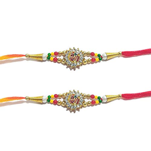 Oval Shape White Ring Rudrakhsa Rakhi thread Orange and Red Color Thread Set of Two Rakhi Raksha bandhan Gift for your Brother Color Vary and Multi Design