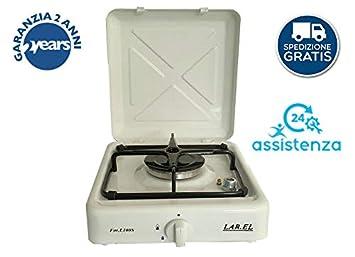 Larel - Hornillo de camping con 1 fuego, multi gas GLP o metano, cocina de apoyo: Amazon.es: Hogar