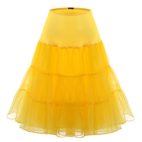 BAOMOSI Women's 50s Vintage Petticoat Skirts Crinoline Tutu Underskirts YELLOW S (Can Can Outfit Fancy Dress)