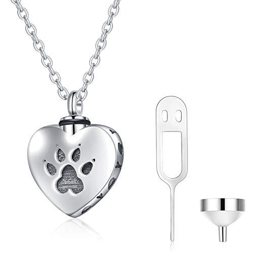 WINNICACA Pet Urn Keepsake Necklace Sterling Silver Heart Cremation Urn Necklaces for Ashes for Dog Cat Paw w/Funnel Filler Kit