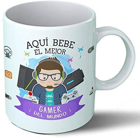 Planetacase Taza Desayuno Aquí Bebe el Mejor Gamer del Mundo ...