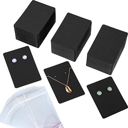 300 Pieces Necklace Earring Display Cards with 300 Pieces Self-Sealing Bags for Stud Earrings Dangle Earrings Pendant Earrings Necklace Chain (Black)