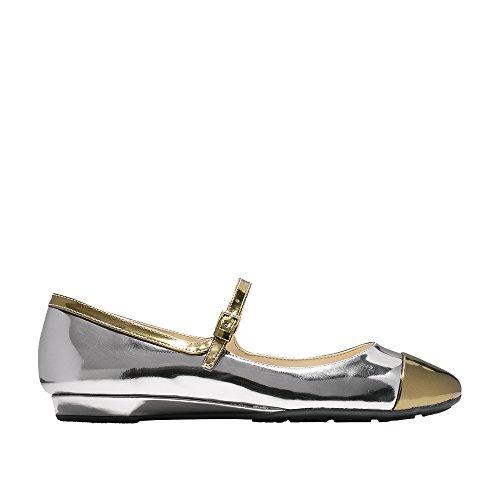 Cole Haan Womens Phoenix Ballet Flat 6 Pewter Metallic-Gold (Flats Ballet Metallic Leather)