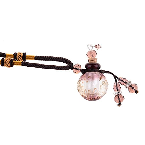 Aromatherapy Essential Oil Diffuser Necklace Handmade Glazed Glass Locket Pendant with Origin Cork Cover,Purple