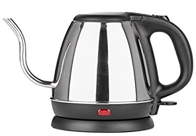 Zell Stainless Steel Electric Kettle | Precise Thin Spout for Pour Over Coffee or Tea | 1200w Fast Heat Up and Automatic Shutoff Cordless Electric Gooseneck Water Kettle | 800 ml