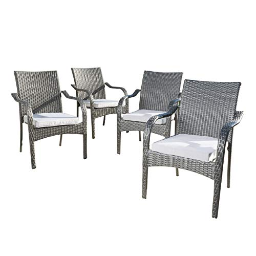 GDF Studio San Miguel | Wicker Stacking Outdoor Dining Chairs | Set of 4 | Perfect for Patio | Grey