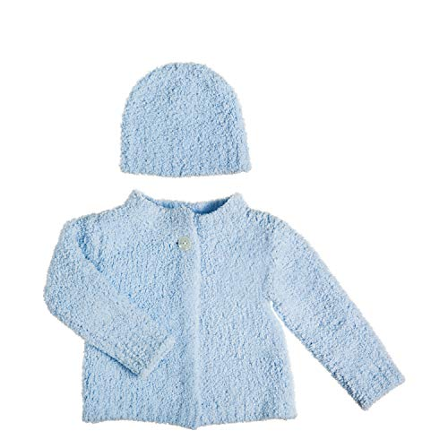 Boutique Chenille Baby Bibs - B. Boutique Vie Luxe Blue Chenille Baby Cardigan and Hat Set, Size 0-12 Months
