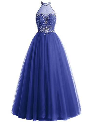 Sequins Gowns Formal Party Ball Halter Line Dresses Prom Royal Long Anlin Blue A Beaded Tulle xRqAcp7w