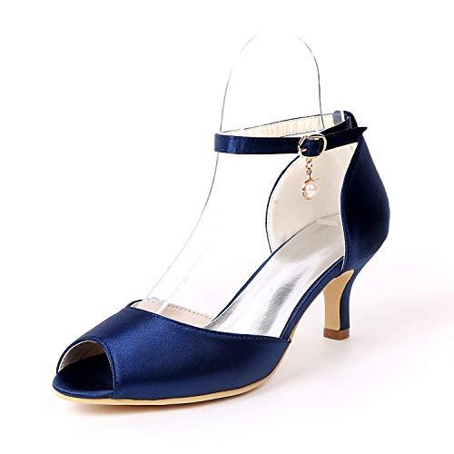 Alto Boda tacones Navy Mujer Corte De Y Cm Zapatos Hebilla 6 Zapatillas Blue Plataforma Satén Tacón Noche L yc Cerrada Con ZvHa68qw