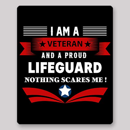 (Home Of Merch I Am A Veteran and A Proud Lifeguard Nothing Scares Me Idea Birthday Christmas Retirement Enlistement for Veterans EX Service Men Black Gaming Mouse)