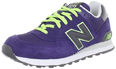 New Balance Women's WL574 Classic Fashion Sneaker,Lime/Purple,12 B US