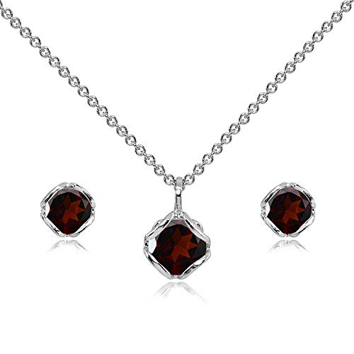 (Sterling Silver Garnet 6mm Round Solitaire Stud Earrings & Pendant Necklace)