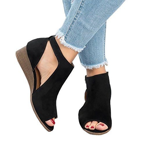 Chellysun Women Peep Toe Ankle Buckle Cut Out Wedge Sandals Strap Bootie Platform Sandal