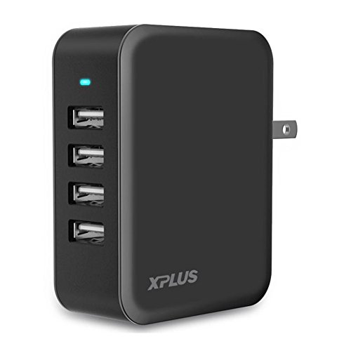 USB Charger, XPLUS 24W/4.8A,4-Port USB Charger Desktop Charging Station with iSmart Technology,USB Charger with Foldable Plug for iPhone X/8/7/7Plus, iPad Pro/Air/mini, Galaxy S6 and more(Black)