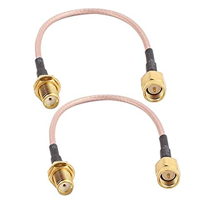 eDealMax 2 piezas de oro SMA Macho a RP-SMA hembra adaptador de conector de